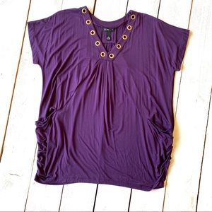 NWOT INC Purple Riveted Top V Neck with Pockets